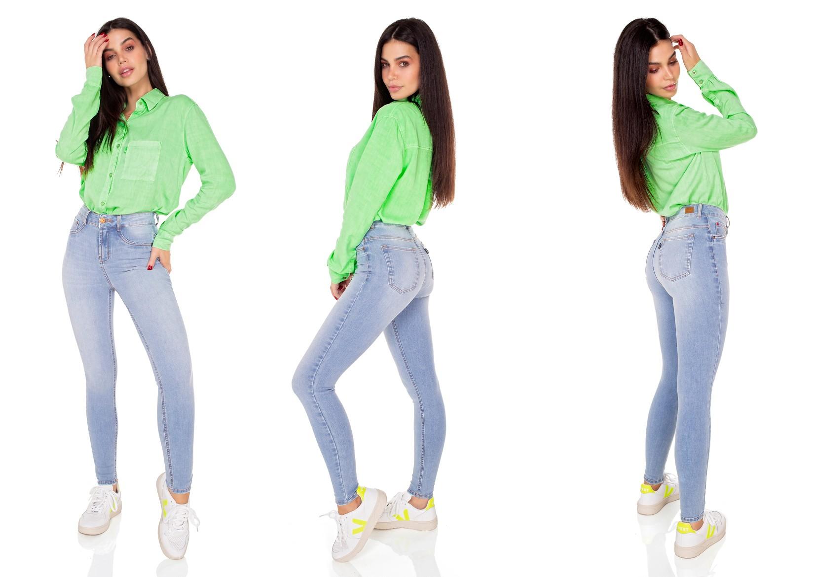 dz3547 calca jeans feminina skinny media cigarrete denim zero tripla